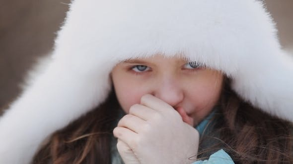 Thumbnail for Beautiful  Little Girl Wearing Hat In Winter Park