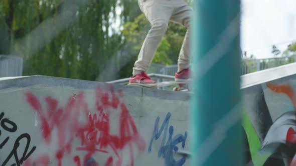 Thumbnail for Skating on a concrete skateboarding ramp