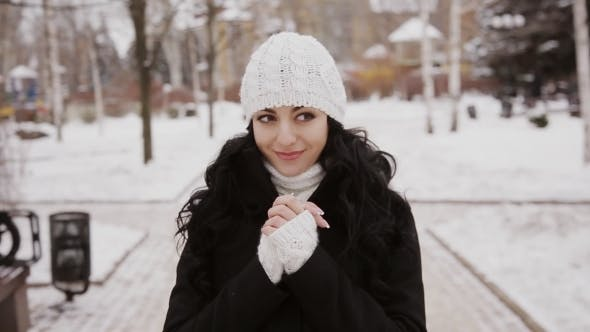Thumbnail for Beautiful Brunette Girl In Winter Park With Snow