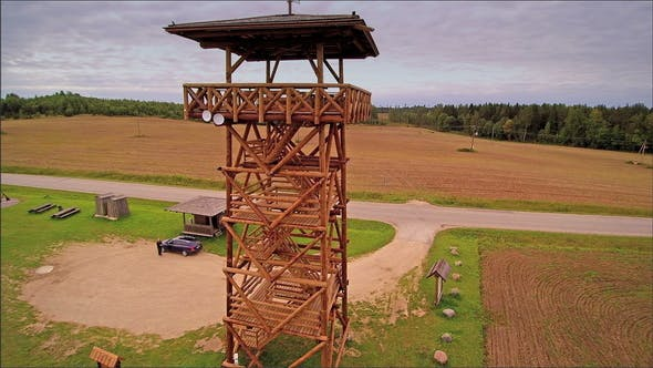 A Wooden Watch Tower in the Field in Meremae