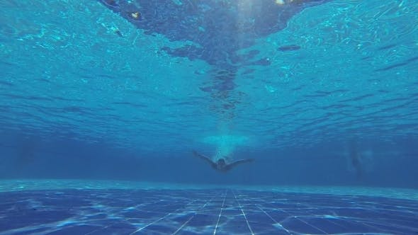 Thumbnail for Underwater Swimming. Man Swims In The Pool