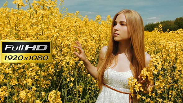 Thumbnail for Beautiful Girl Walking Through The Tall Grass of a Field