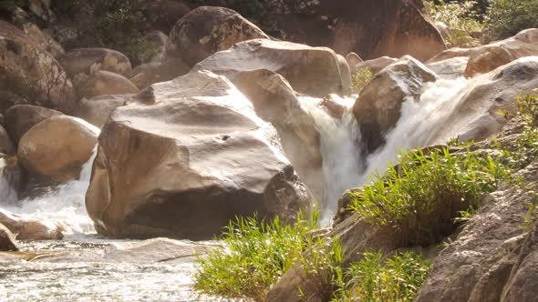 Thumbnail for Waterfalls Cascade of Mountain River Stormy Stream among Rocks