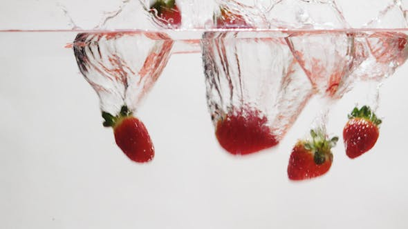 Thumbnail for Strawberries Falling into Water