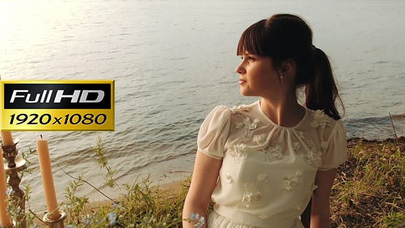 Thumbnail for Pretty Woman Relaxing At Romantic Place Near The Water