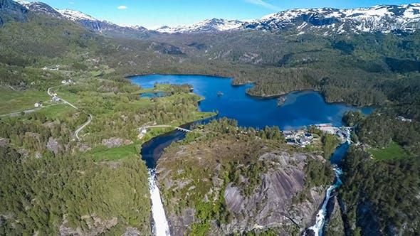 Thumbnail for Aerial Footage Latefossen Waterfall Norway