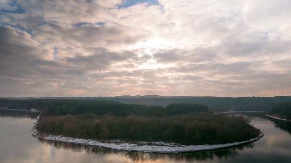 Thumbnail for Winter Sunset Over The River