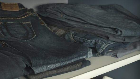 Shelf With Jeans In The Wardrobe