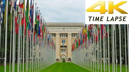 Nations Unies avec drapeaux, Genève, Suisse