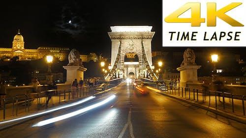 View of Historic Chain Bridge at Night, Budapest, Hungary