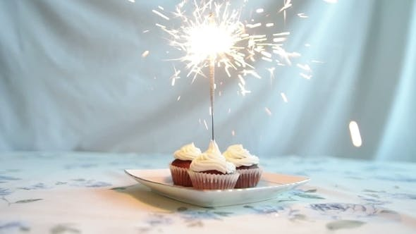 Thumbnail for Cupcake With Bow And Candle. Happy Birthday Card. Holidays Greeting Card.