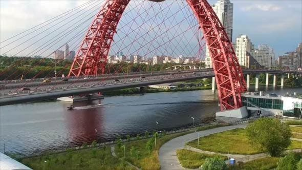 Thumbnail for Traffic on a Suspension Bridge in the City