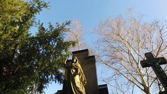 Thumbnail for Jesus and Mother Mary Sculpture in Cemetery and Nature