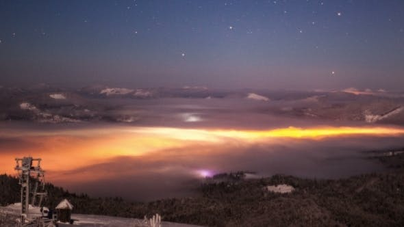 Thumbnail for Night Smoke Over City In Carpathian Mountains