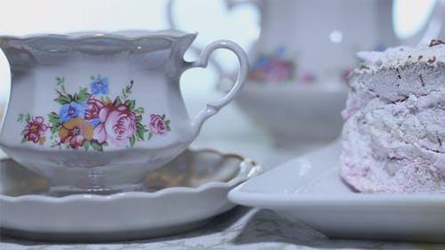 Cake Dessert with Tea