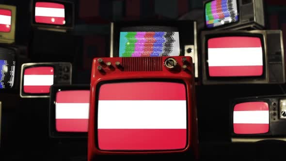Austria flag and Vintage Televisions.