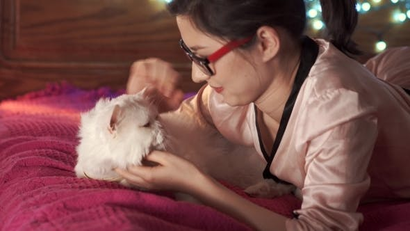 Thumbnail for A Woman Is Lying In Bed And Talking To Her Cat