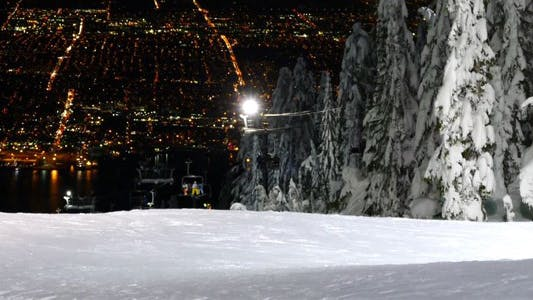 Thumbnail for Alpine Skiing Resort - 52 - Night, Forest, Slopes, Lift, City