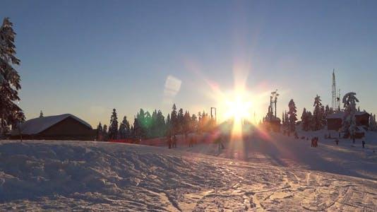 Alpine Skiing Resort - 68 - Sunset, People, Village