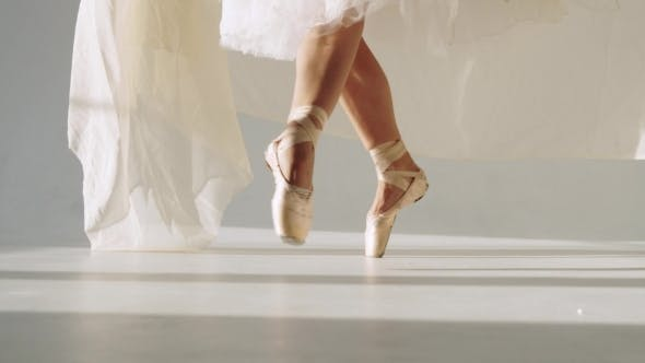 Thumbnail for Silhouette Of Ballerina In Classical Tutu In The White Studio.