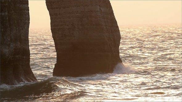 Thumbnail for Big Waves Splashing on the Rock Cliff of Etretat