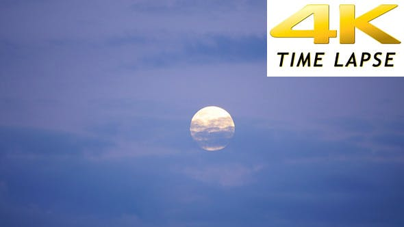 Thumbnail for Full Moon With Clouds at Twilight