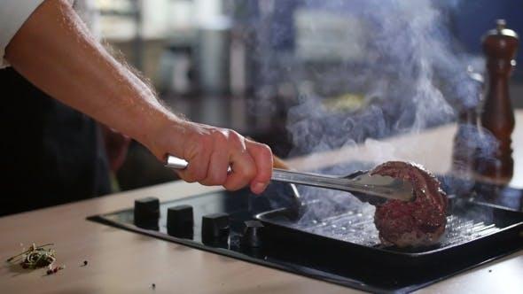 Meat Is Fried In a Pan