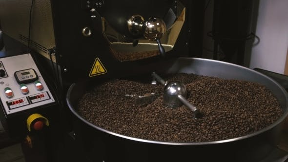 Thumbnail for Freshly Roasted Coffee Beans Mixing In a Coffee Roaster