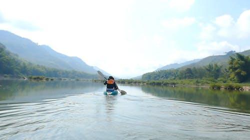 Two Athletes Kayaking On River