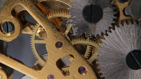 Thumbnail for Gears Mechanical Clock. Close Up