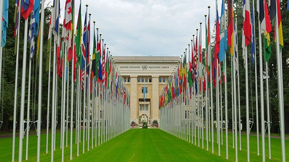 Thumbnail for UN, United Nations with Flags, Geneva, Switzerland