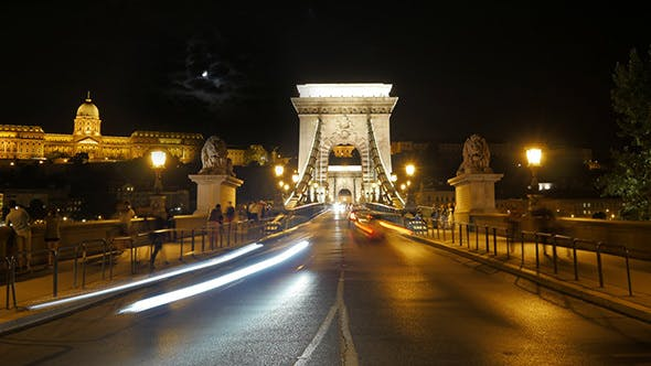 Thumbnail for View of Historic Chain Bridge at Night, Budapest, Hungary