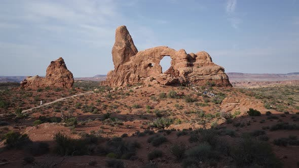 Crane Shot Of Turret Arch In Arches National Park 3