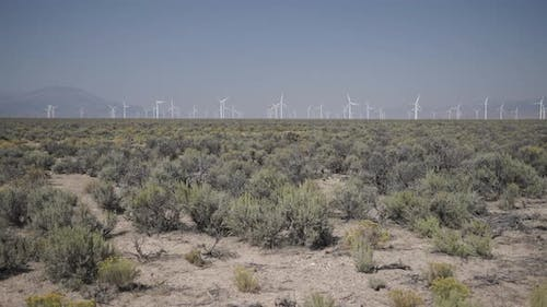 Pan Right Of A Windfarm In The Desert 1