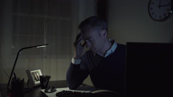 Thumbnail for Sad Man At His Office Desk 1