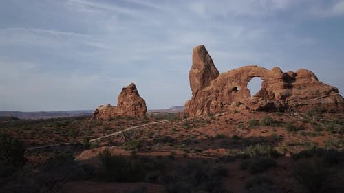 Dolly Shot Of Turret Arch In Arches National Park 4