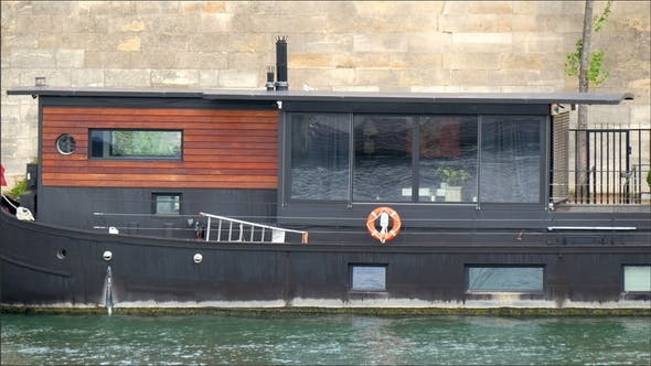 Thumbnail for Long Floating Boat on the River in Paris