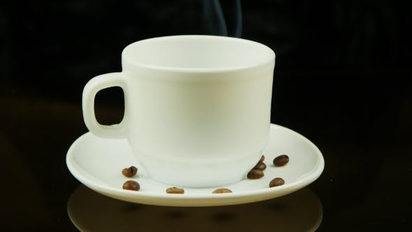Thumbnail for A Cup Of Cappuccino Coffee On a Black Background