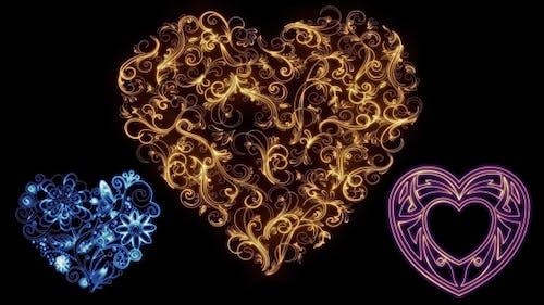 Valentines Herzen Kalligrapie