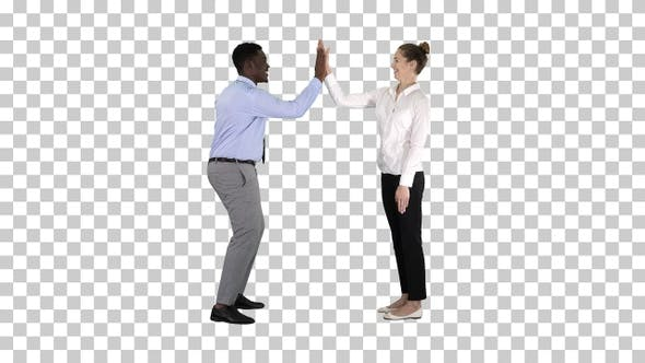 Cover Image for Young woman and young man in formal clothes give high five