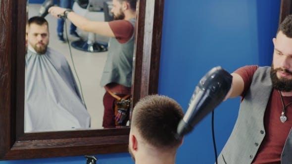Thumbnail for Friendly Hairdresser Dries The Hair Dryer Hair Man