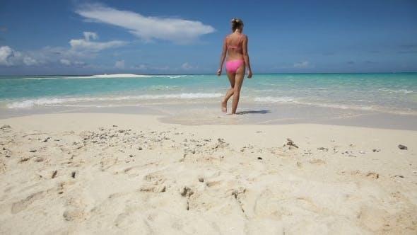 Thumbnail for Woman Walks Along The Beach