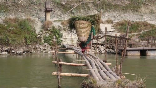 A Woman With a Burden Crosses The Bridge