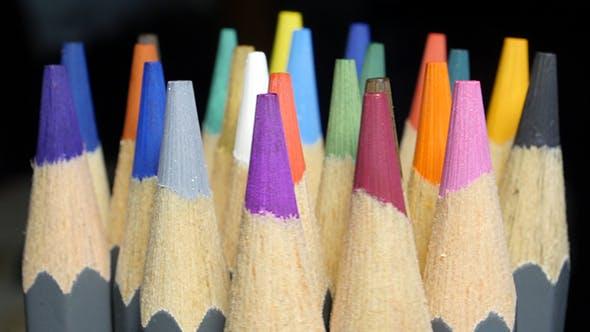 Top Of Different Colour Pencils