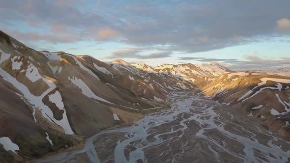 Thumbnail for Aerial Icelandic Rainbow Mountains at Sunset