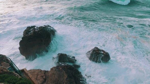 Thumbnail for Big Ocean Waves Breaking On Rock