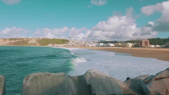 Ocean Waves Incoming on Sand Beach