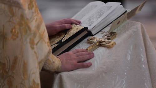 Oath At The Newlyweds On Luxuriously Decorated Bible
