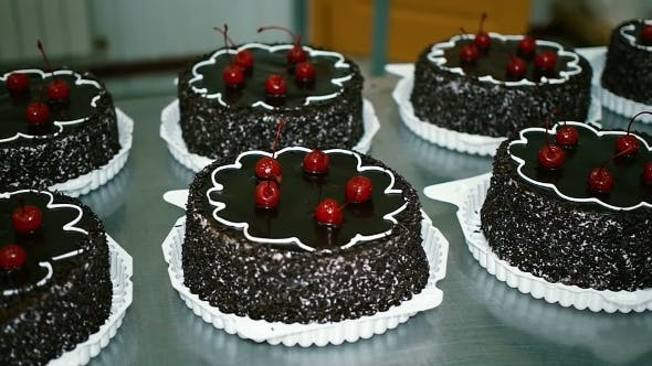 Thumbnail for Chocolate Cake With Cherries In a Candy Store