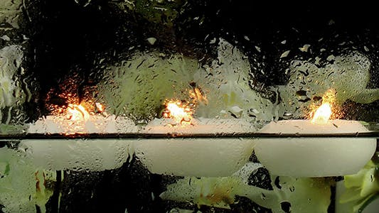 Thumbnail for Candles in the Water & Waterdrops on Glass